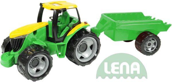 LENA Traktor plastový zelený set s přívěsem 94cm v krabici