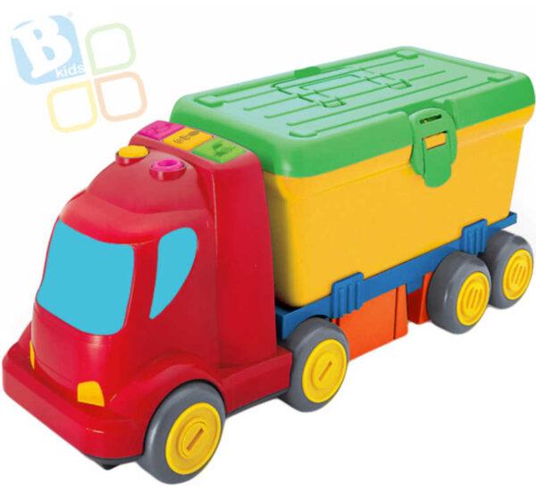 B-KIDS Baby auto náklaďák pracovní stůl 2v1 set s nářadím na baterie pro miminko