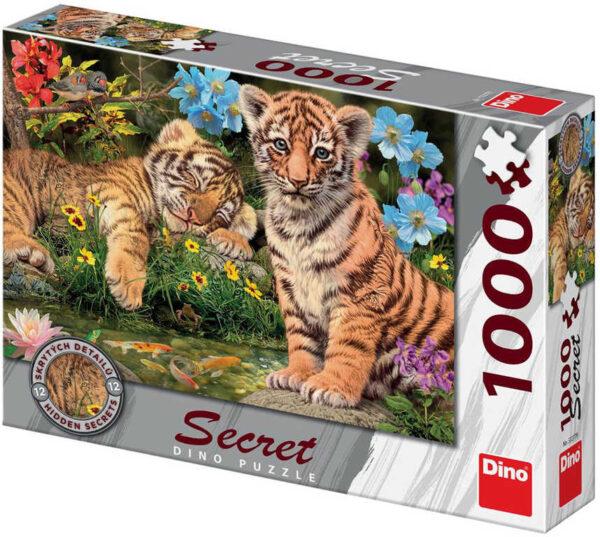 DINO Puzzle1000 dílků Tygříci skrytá tajemství 66x47cm skládačka