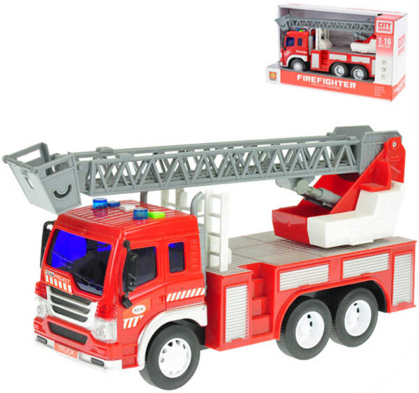 Auto hasičské 1:16 s žebříkem 27cm na setrvačník na baterie Světlo Zvuk