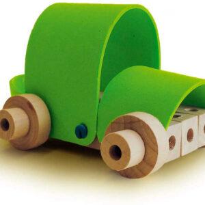 SES CREATIVE DŘEVO Stavebnice montážní vozidla 4v1 set s kladívkem