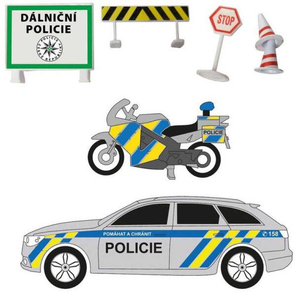 Dálniční policie ČR set 2 vozidla s dopravním značením na baterie Světlo Zvuk kov