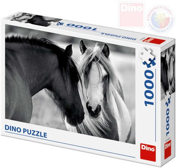 DINO Puzzle 1000 dílků Černobílí koně 66x47cm skládačka v krabici