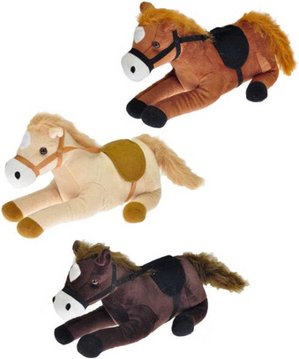 PLYŠ Kůň ležící 25cm osedlaný na baterie Zvuk 3 barvy *PLYŠOVÉ HRAČKY*