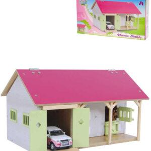 DŘEVO Farma stáj pro koně 34x22x19cm s garáží *DŘEVĚNÉ HRAČKY*