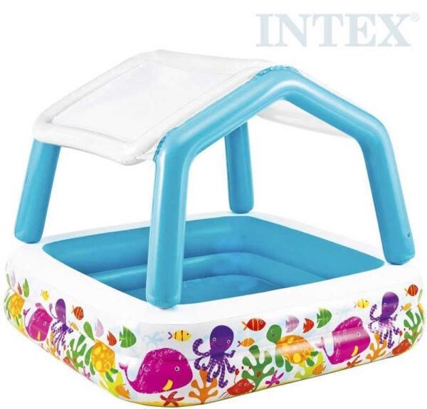 INTEX Bazén dětský nafukovací se stříškou oceán 157x157x122cm čtverec 57470