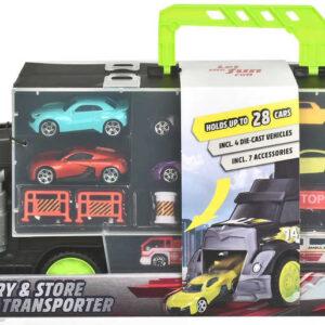 DICKIE Auto transportér 43cm kufr 2v1 set se 4 autíčky a doplňky kov